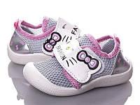 Кроссовки детские легкие летние с текстильным верхом для девочки. Слипоны дышащие на лето, 25 размер (серые)
