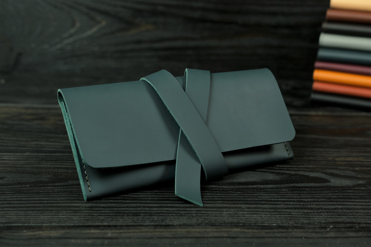 Гаманець клатч шкіряний з закруткою, Шкіра Grand, колір Зелений
