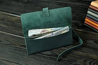 Гаманець клатч шкіряний з закруткою, Шкіра Grand, колір Зелений, фото 3