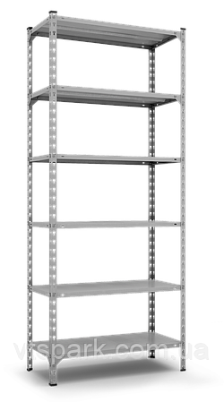 Стеллаж Комби 3120х1200х400мм, 180кг, 6 полок, металлические полки, оцинкованный для подвала, склада, архива