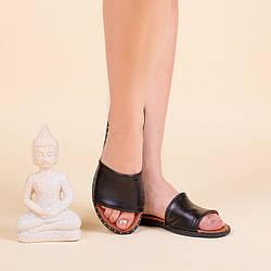 Кожаные женские шлепанцы без каблука. Размер 36-41. Цвет на выбор