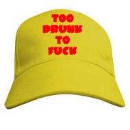 Жёлтая молодёжная летняя бейсболка с надписью  TOO DRUNK