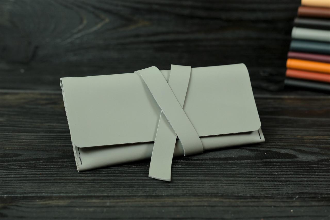 Гаманець клатч шкіряний з закруткою, Шкіра Grand, колір Сірий