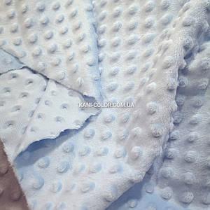 Ткань плюш Минки пупырышки голубой