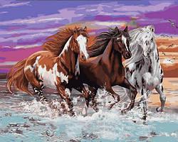Картины по номерам 40×50 см Mariposa Бегущие лошади (Q 2252)