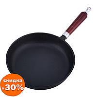 Сковорода чавунна Kamille 26.5 см з дерев'яною ручкою для індукції і газу для приготування їжі KM-4811V