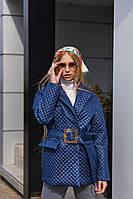 Демисезонная женская стеганая куртка с накладными карманами Mila Nova Куртка К-193 цвет синий, размер 42-44