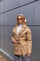 Демисезонная женская стеганая куртка с накладными карманами Mila Nova Куртка К-193 цвет бежевый, размер 42-46
