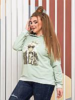 Жіночий стильний батник з малюнком і капюшоном Батал