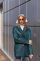 Демисезонная женская стеганая куртка с накладными карманами Mila Nova Куртка К-193 зеленого цвета, размер 44