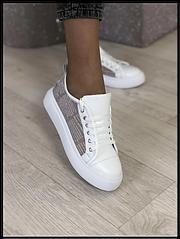 Кеди жіночі стильныеиз натуральної шкіри Код 00608 білі+гіпюр біла підошва розміри 36-40