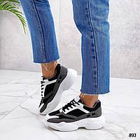 Женские кроссовки из эко замши 36-41 р белый+чёрный+серый, фото 1