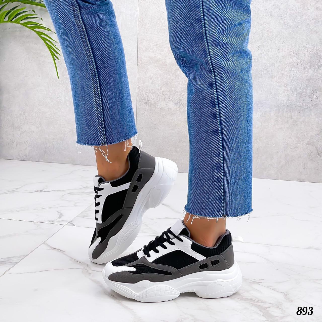 Женские кроссовки из эко замши 36-41 р белый+чёрный+серый