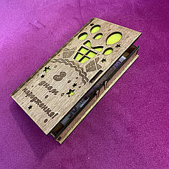 Коробочка деревянная для денег 004