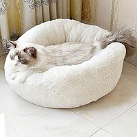 Подушка, лежак для кошек и собак пушистый диаметр 50 спальные места для домашних животных до 4 кг.