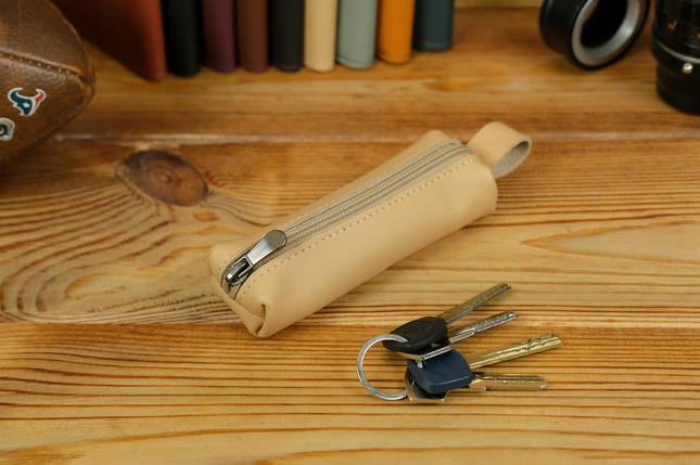 Ключница на молнии, Кожа Grand, цвет Бежевый, фото 2