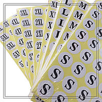 Размерники, бумажные наклейки (XS, S, M, L, XL, 3XL), диаметр 13 мм