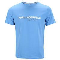 Футболка мужская св голубая KARL LAGERFELD с принтом №2 Ф-10 LGLB L(Р) 20-836-020