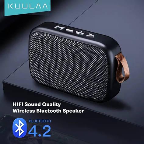 Беспроводная Bluetooth колонка Kuulaa с поддержкой FM-радио, USB, microSD карт Black, фото 2