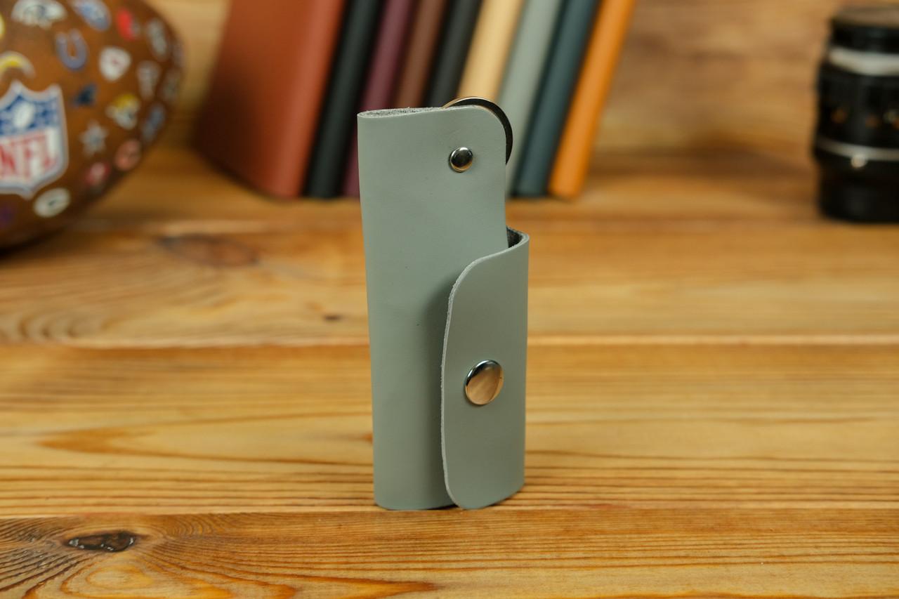 Ключниця на кнопці №16, шкіра Grand, колір Сірий