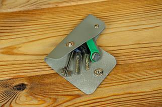 Ключниця на кнопці №16, шкіра Grand, колір Сірий, фото 2