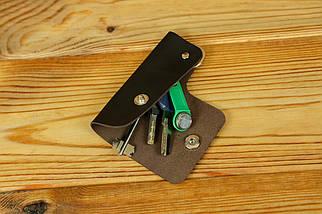 Ключниця на кнопці №16, шкіра Grand, колір Шоколад, фото 2