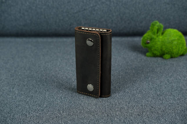 Ключниця на кнопках Вінтажна шкіра колір Шоколад, фото 2