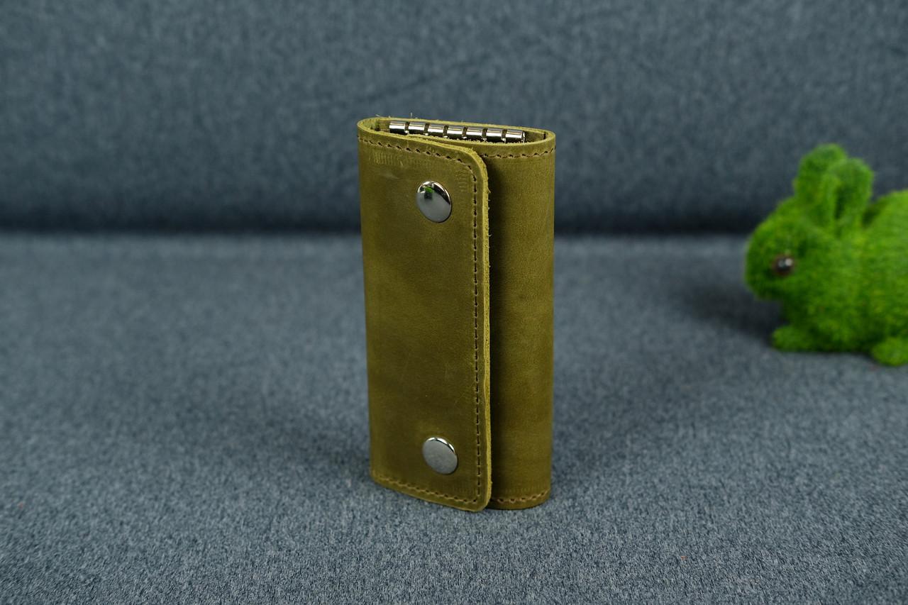 Ключниця на кнопках Вінтажна шкіра колір Оливковий