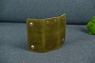 Ключниця на кнопках Вінтажна шкіра колір Оливковий, фото 3