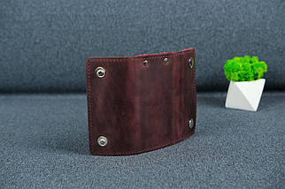 Ключница на кнопках Винтажная кожа цвет Бордо, фото 3