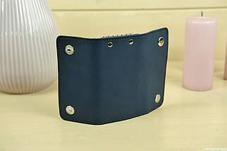 Ключниця на кнопках Шкіра Італійський краст колір Синій, фото 3