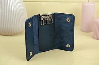Ключниця на кнопках Шкіра Італійський краст колір Синій, фото 2