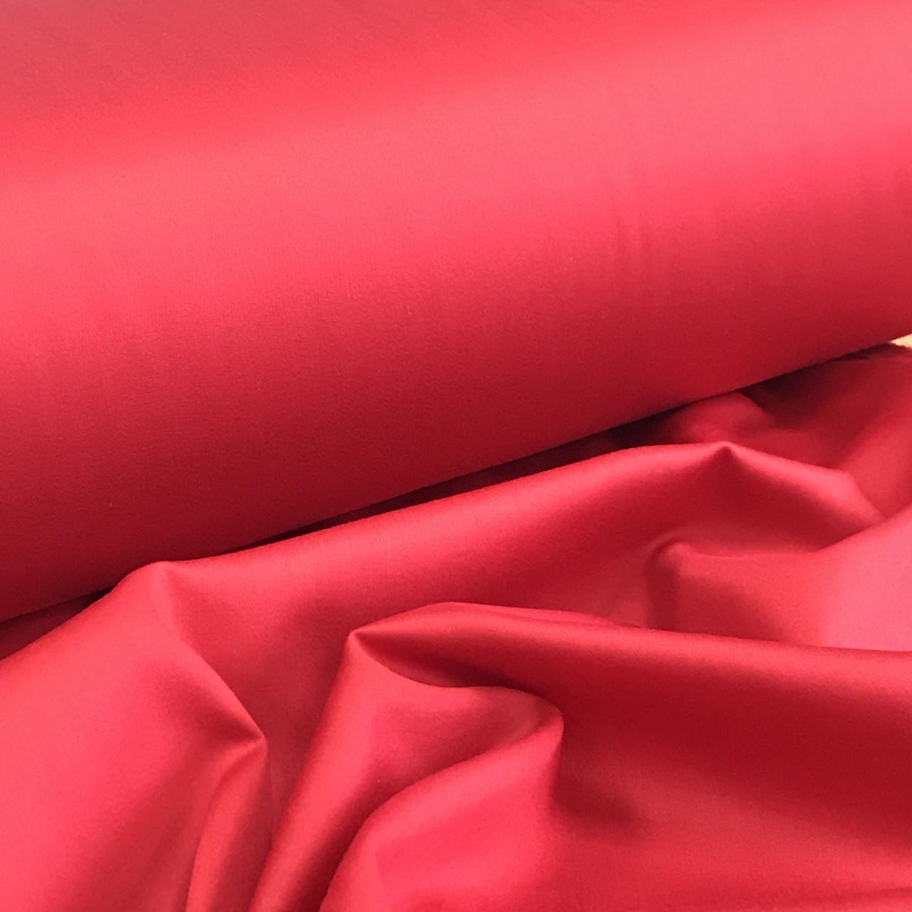 Сатин красный для постельного белья, мерсеризованный  (ТУРЦИЯ шир. 2,4 м) № 31-03s Отрез(1,5*2,4м)