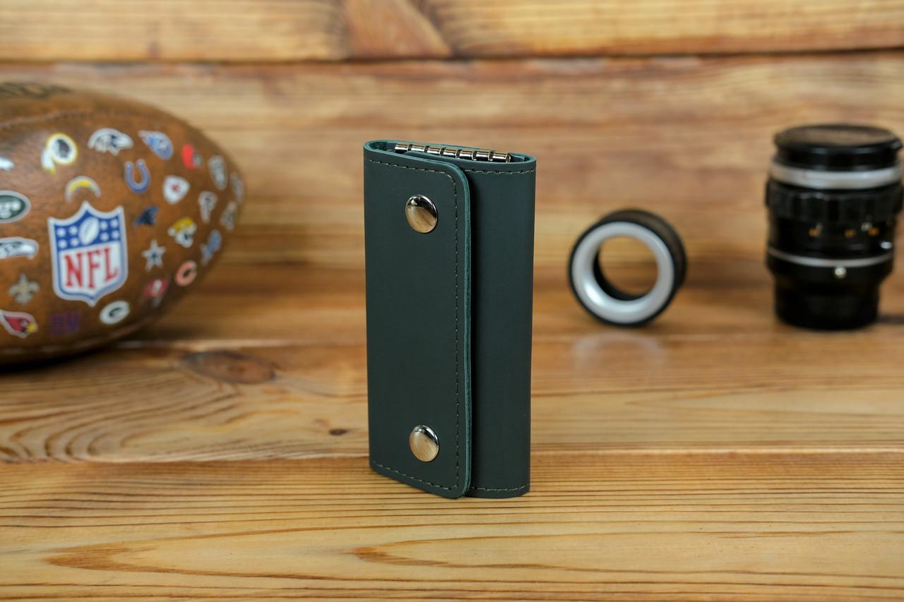 Ключниця на кнопках, шкіра Grand, колір Зелений