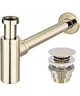 Сифон для умывальника REA универсальный, с донным клапаном золотой, фото 1