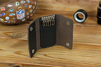 Ключниця на кнопках, шкіра Grand, колір Шоколад, фото 2