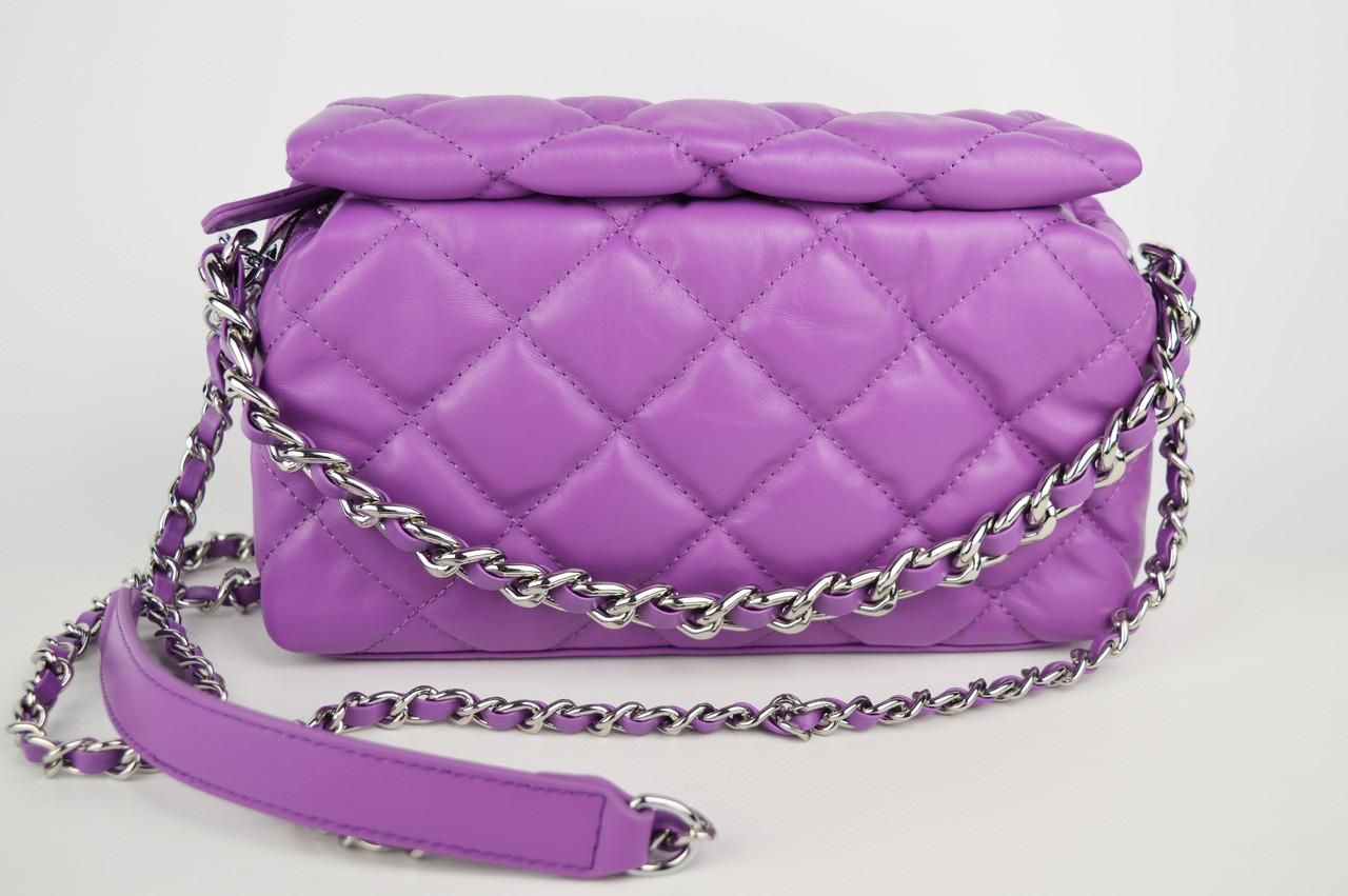 Сумка с цепью Polina&Eiterou 9572 Фиолетовый Натуральная кожа