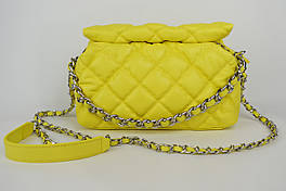 Сумка с цепью Polina&Eiterou 9572 Желтый Натуральная кожа