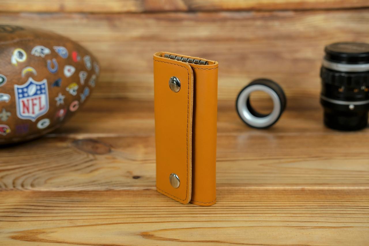 Ключниця на кнопках, шкіра Grand, колір Бурштин