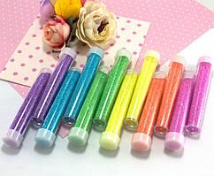 Набор неоновых блёсток (глиттер), 12 бутылочек, 6цветов, МИКС