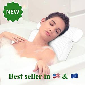 Подушка для ванной белая под голову и для поддержка шеи и спины ортопедическая с присосками  36 см x 33