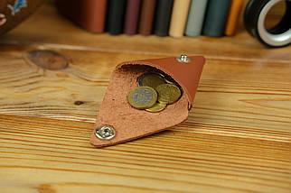 Шкіряна монетниця, шкіра Grand, колір Коньяк, фото 3