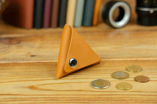 Кожаная монетница, кожа Grand, цвет Янтарь, фото 2