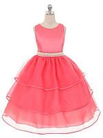Выпускное платье из органзы с жемчужным поясом 8-10 лет