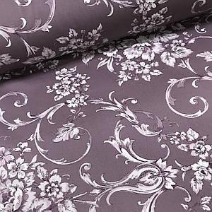 Ткань сатин с рисунком, белые цветы с орнаментом на сиреневом (ТУРЦИЯ шир. 2,4 м) Отрез(0,45*2,4м)