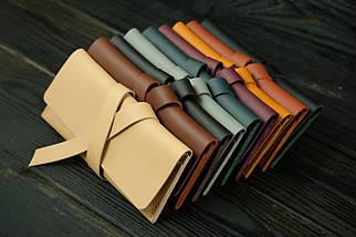 Кошелек клатч кожаный с закруткой, Кожа Grand, цвет Бежевый, фото 3