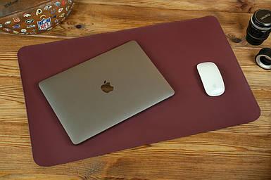 Кожаный бювар, подложка на стол 375 х 600 мм, натуральная кожа Grand, цвет Бордо