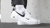 Кроссовки мужские Nike Air Force 1 07Lv8 Ultra кеді повседневные черно - белые найк аир форс 1 07