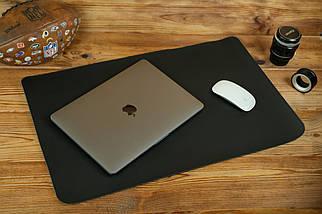 Шкіряний бювар, підкладка на стіл 375 х 600 мм, натуральна шкіра Grand, колір Чорний, фото 2