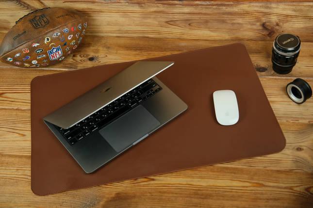 Шкіряний бювар, підкладка на стіл 375 х 600 мм, натуральна шкіра Grand, колір Віскі, фото 2